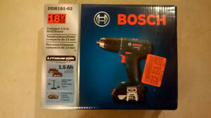 Bosch 18V Lith-Ion Drill/Driver kit with THREE batteries - NEW