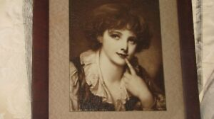 Antique Lithograph, Young Lady, From Wallace Collection