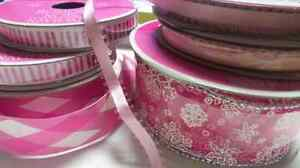 Pink ribbon - snowflakes harlequin sparkles and stripes pastel