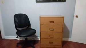 Chairs, desk, bureau