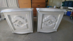 Pair of white antique end tables with storage cabinet. 19wide 26