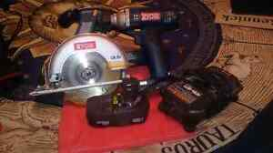 Ryobi piwer saw and impact drill wuth one battery and charger