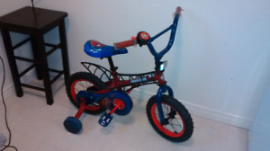Toddler's Spiderman bike with training wheels