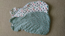 2 tommee tippee sleeping bags 2.5 tog, size 0-4 months