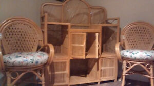 Rattan chairs and dresser