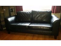 Real leather large 2 seater settee