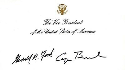 George H W  Bush   Ial Card Signed Co Signed By   Gerald R  Ford