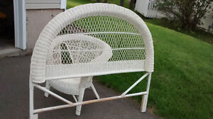 wicker chair and headboard for sale