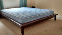Queen size bed frame and mattress w/matching side tables