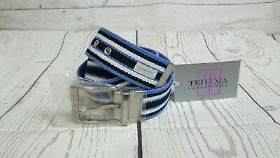 NWT Tehama Golf Canvas Striped Belt S/M White Navy Blue, w/Silver Buckle (Navy Canvas Belt)