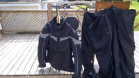 Helmets, motorcycle jackets, pants, rain suit, 2 travel bags