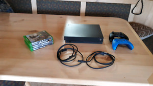 Xbox One X with 2 Controllers and 5 Games