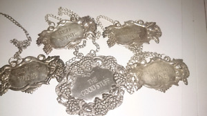4 Sterling Silver- 1 Pewter- Liquor Decanter Tags