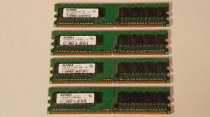 Mémoire vive Elpida 4 x 1gb DDR2 PC2-6400