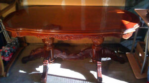 NICE WOODEN TOP GLASS DINING TABLE WITH TWO PEDESTALS