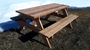 Pressure treated picnic tables .