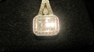 18 KARAT WHITE GOLD DIAMOND PENDANT HANDMADE, HIGH QUALITY.  NEW
