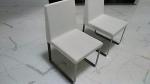 4 Modern White Faux Leather Brushed Chrome Legs Dining Chairs