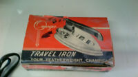 Antique NOS Chrome Travel Iron MCM Retro Beautiful with box!