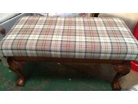 Beautiful large bench /double piano seat in tartan