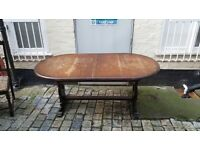Solid oak dining table + chairs 8 seater