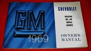RARE Canadian 1969 Chevrolet Bel Air Impala Owner's Manual OEM Prince George British Columbia image 1