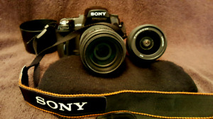 Sony a 500 camera and 2 lenses