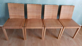4 Solid pine wicker chairs