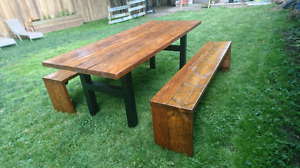 Barn baord table and benches