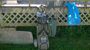 golf  bag and clubs       and practice mat for sale