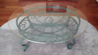ELEGANT WROUGHT IRON THICK BELLEVED GLASS COFFEE TABLE SET (3PCS