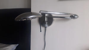 Two (2) Satin Chrome swing-arm wall lamps