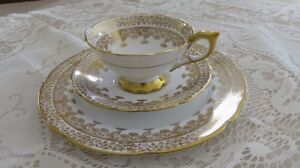 3 Piece Gold Regent Royal Stafford China Cup Saucer and Plate