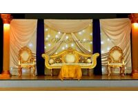 Royal seat hire wedding throne chair rental £199 reception crystal globe centrepiece hire table rent