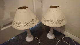 A pair of bedside cabinet lamps