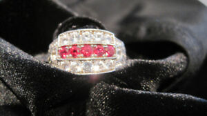 """""""RUBY"""" RED, RARE SPINEL & WHITE SAPPHIRE RING; VINTAGE SETTING!"""