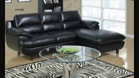 Sectional Sofa in black bonded  leather & memory foam