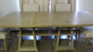 6 person butterfly  quality wood table + 6 chairs  FOR SALE!!!