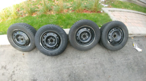 Set of 4 Goodyear Winter Tires, 225/60/16, On Rims 5x115. As New