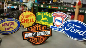 LARGE HARLEY INDIAN BSA NORTON AND TRIUMPH SIGNS