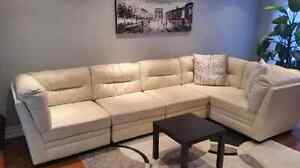 5 PIECE SECTIONAL COUCH ASHLEY FURNITURE BEIGE COLOR