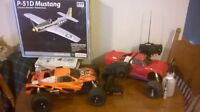 2 Duratrax evaders and micro flyer. trade for older speed boat