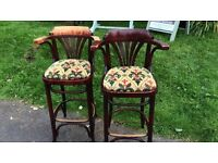 Pair of bentwood high back kitchen breakfast bar stools