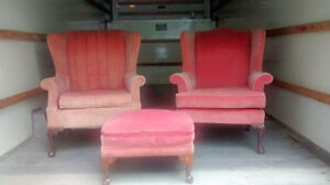 Moving sale! Antique chairs and footrest!