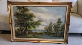 Woodside by a loch Oil painting by Minteen