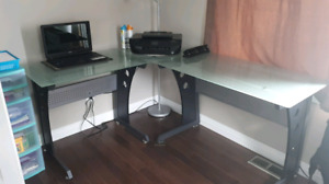 L shaped frosted desk $120.00