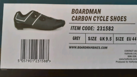 Boardman Carbon Cycle Shoes UK 9.5 EU 44 GREY