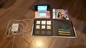 Pink Nintendo 3ds plus charger and games and game case