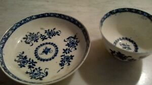 Antique china tea bowl and saucer - blue and white West Island Greater Montréal image 2