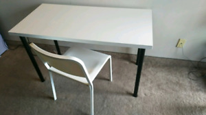 IKEA WHITE CHAIR AND TABLE